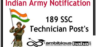 Indian Army for SSC Technician (Men & Women) Recruitment 2020 : 189 Post check here
