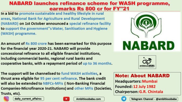 NABARD launches refinance scheme for WASH programme, earmarks Rs 800 cr for FY''21