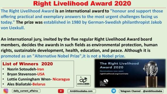 Right Livelihood Award 2020