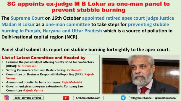 SC appoints ex-judge M B Lokur as one-man panel to prevent stubble burning