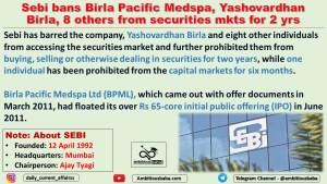 Sebi bans Birla Pacific Medspa, Yashovardhan Birla, 8 others from securities mkts for 2 yrs