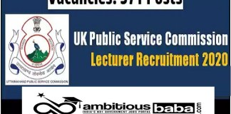 UKPSC for Lecturer Recruitment 2020 : 571 Post check here