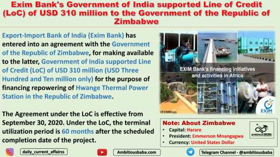 Exim Bank's Government of India supported Line of Credit (LoC) of USD 310 million to the Government of the Republic of Zimbabwe