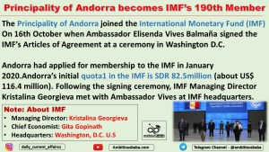 Principality of Andorra becomes IMF's 190th Member