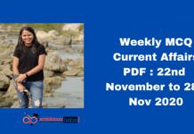 Weekly MCQ Current Affairs PDF : 22nd November to 28th Nov 2020