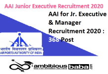 AAI for Jr. Executive & Manager Recruitment 2020 : 368 Post check here