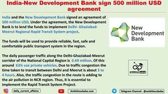 India-New Development Bank sign 500 million USD agreement