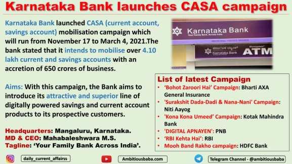 Karnataka Bank launches CASA campaign