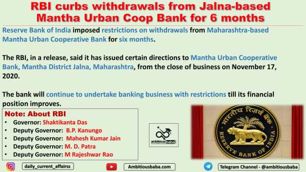 RBI curbs withdrawals from Jalna-based Mantha Urban Coop Bank for 6 months