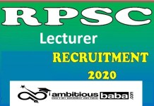 RPSC for Lecturer Recruitment 2020 : 39 Post check here