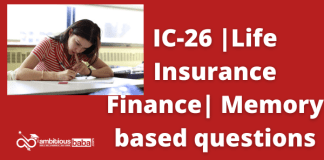 IC-26| Life Insurance Finance | Memory based questions
