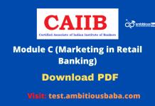 CAIIB Retail Banking Module C :Download PDF
