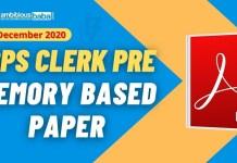 IBPS Clerk Pre Memory Based paper 2020 Blog Image
