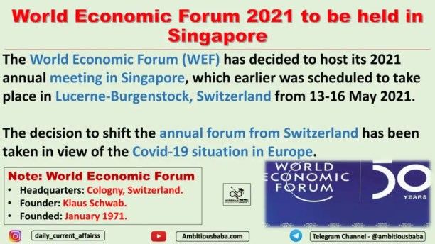 World Economic Forum 2021 to be held in Singapore