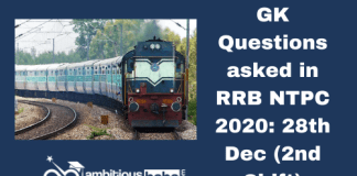 GK Questions asked in RRB NTPC 2020: 28th Dec, 2nd Shift