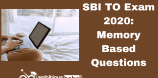 SBI TO Exam 2020: Memory Based Questions
