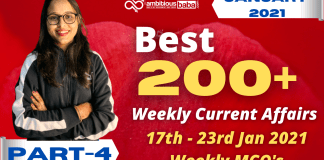 Weekly MCQ Current Affairs PDF : 17th to 23rd Jan 2021