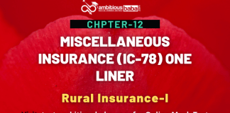 PARA 13.2 IC 78, Miscellaneous Insurance One Liner Chapter-12 : Rural Insurance-I