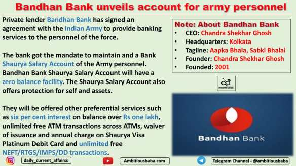 Bandhan Bank unveils account for army personnel