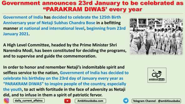 """Government announces 23rd January to be celebrated as """"PARAKRAM DIWAS' every year"""