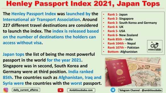 Henley Passport Index 2021, Japan Tops