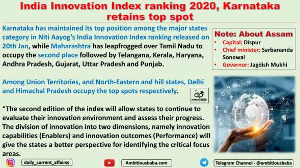 India Innovation Index ranking 2020, Karnataka retains top spot