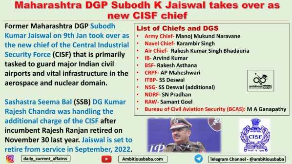 Maharashtra DGP Subodh K Jaiswal takes over as new CISF chief