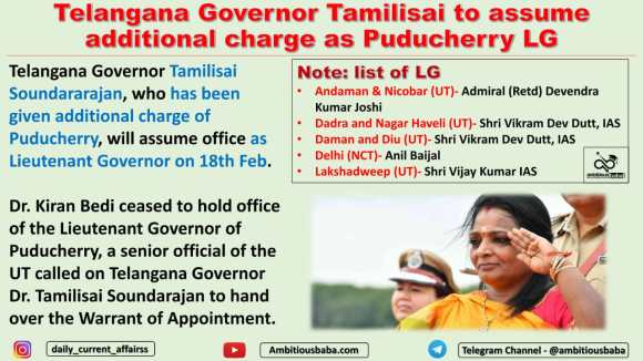 Telangana Governor Tamilisai to assume additional charge as Puducherry LG