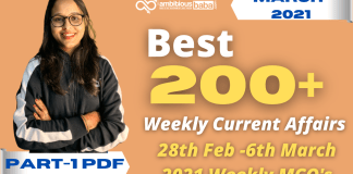 Weekly MCQ Current Affairs PDF : 27th Feb to 6th March 2021