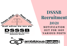 DSSSB Recruitment 2021 : 1809 Post for of Assistant Foreman, Stenographer
