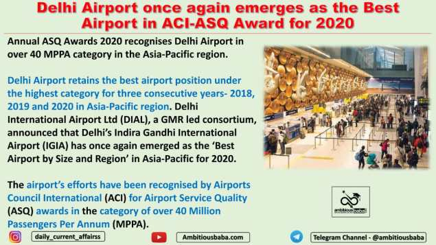 Delhi Airport once again emerges as the Best Airport in ACI-ASQ Award for 2020