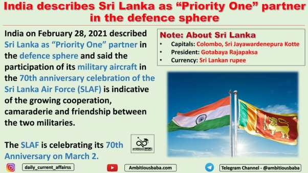 "India describes Sri Lanka as ""Priority One"" partner in the defence sphere"