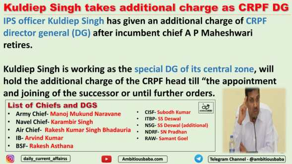 Kuldiep Singh takes additional charge as CRPF DG