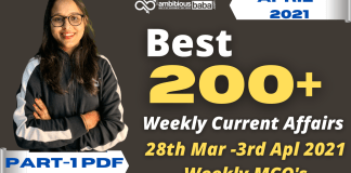 Weekly MCQ Current Affairs PDF : 28th March to 3rd April 2021