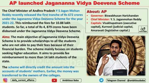 AP launched Jagananna Vidya Deevena Scheme