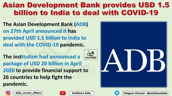 Asian Development Bank provides USD 1.5 billion to India to deal with COVID-19