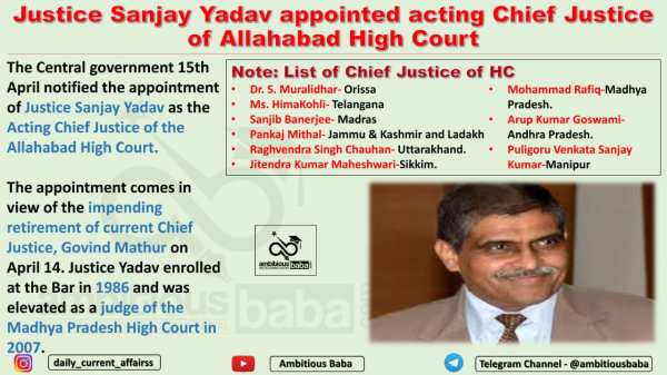 Justice Sanjay Yadav appointed acting Chief Justice of Allahabad High Court