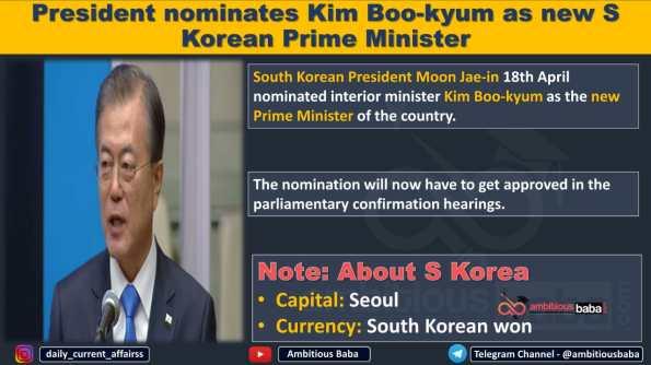 President nominates Kim Boo-kyum as new S Korean Prime Minister