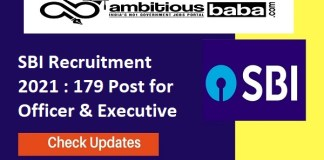 SBI Recruitment 2021 : 179 Post for Officer & Executive