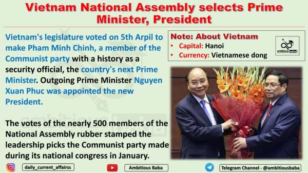 Vietnam National Assembly selects Prime Minister, President