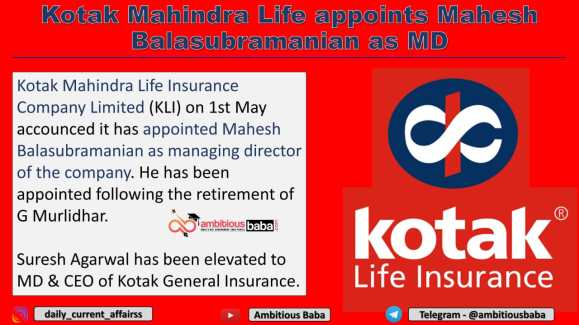 Kotak Mahindra Life appoints Mahesh Balasubramanian as MD