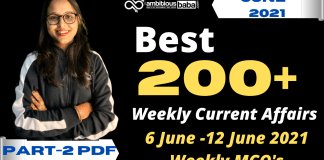 Weekly MCQ Current Affairs PDF : 6 to 12 June 2021