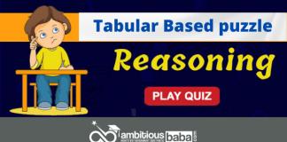 Tabular Based puzzle Quiz