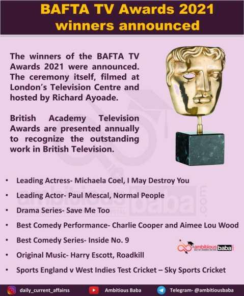 BAFTA TV Awards 2021 winners announced