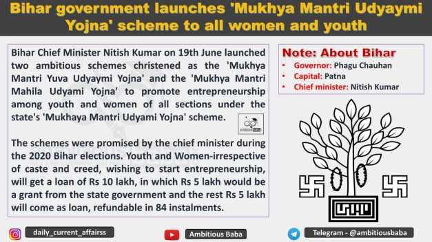 Bihar government launches 'Mukhya Mantri Udyaymi Yojna' scheme to all women and youth