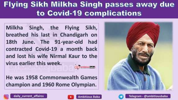 Flying Sikh Milkha Singh passes away due to Covid-19 complications