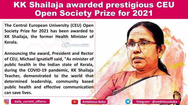 KK Shailaja awarded prestigious CEU Open Society Prize for 2021