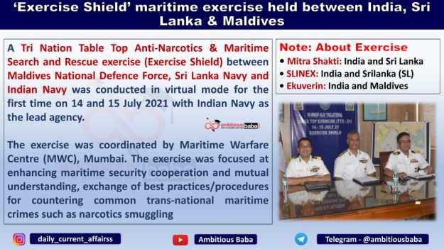 'Exercise Shield' maritime exercise held between India, Sri Lanka & Maldives
