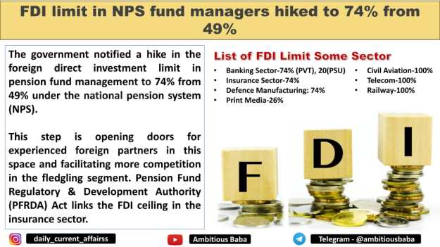 FDI limit in NPS fund managers hiked to 74% from 49%