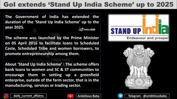 GoI extends 'Stand Up India Scheme' up to 2025